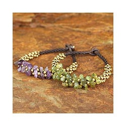 Handmade Set of 2 Amethyst 'Lilac Green Orchids' Peridot Bracelets (Thailand)