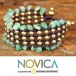 Handmade Brass 'Lanna Dazzle' Quartz Beaded Wristband Bracelet (Thailand)