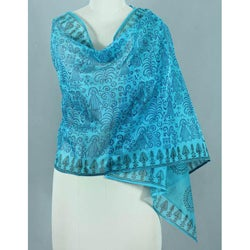 Handcrafted Cotton and Silk 'Turquoise Bihar' Shawl (India)