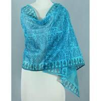 Handmade Cotton and Silk 'Turquoise Bihar' Shawl (India)