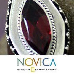 Sterling Silver 'Diamond Sparkle' Garnet Drop Earrings (Indonesia) - Thumbnail 2