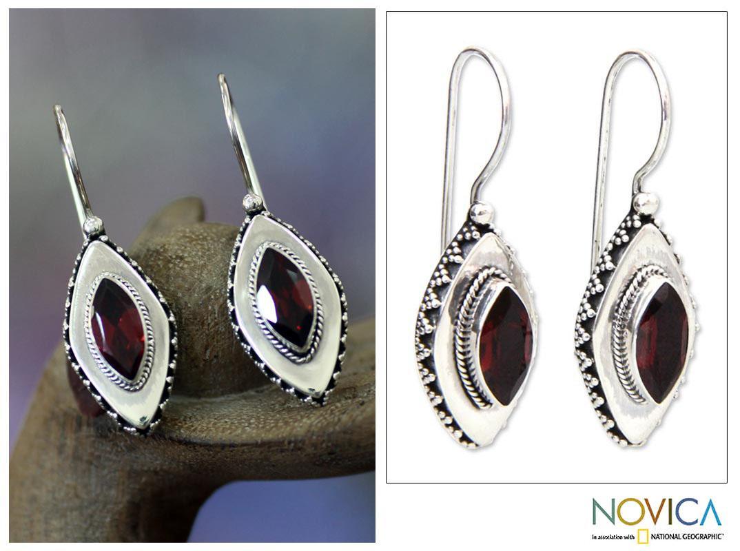 Sterling Silver 'Diamond Sparkle' Garnet Drop Earrings (Indonesia)