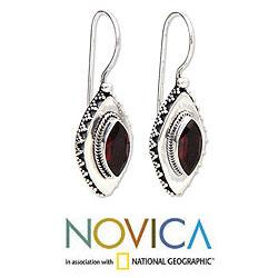 Sterling Silver 'Diamond Sparkle' Garnet Drop Earrings (Indonesia) - Thumbnail 1