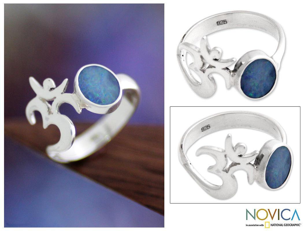 Handmade Sterling Silver 'Hindu Meditation' Opal Ring (Indonesia)