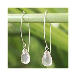 Handmade Sterling Silver 'Sublime' Rose Quartz Dangle Earrings (Thailand)