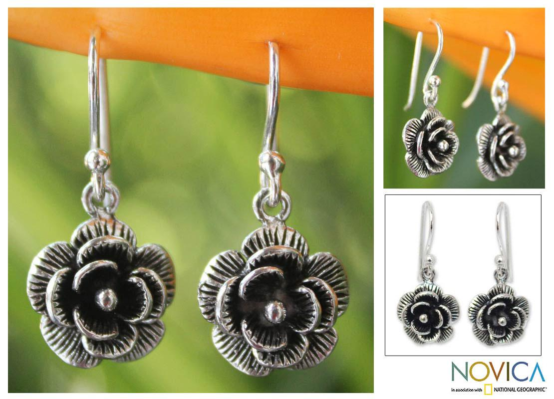 Handmade Sterling Silver 'Loy Kratong Rose' Earrings (Thailand)