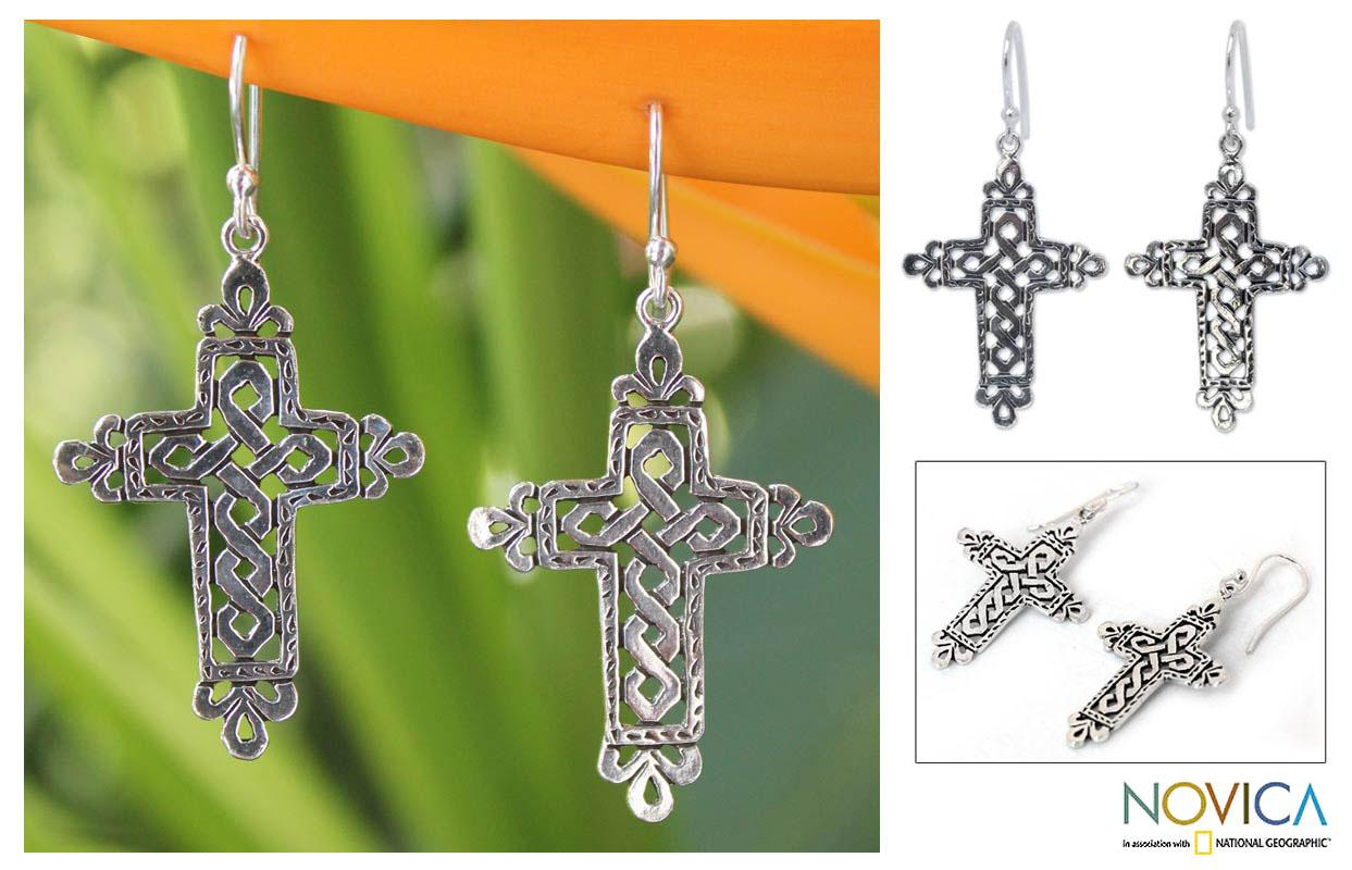 Handmade Sterling Silver 'Cross of Legends' Dangle Earrings (Thailand)