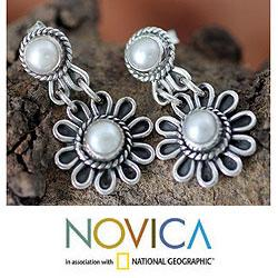 Sterling Silver 'Pristine Blossom' Pearl Earrings (4 mm) (India)