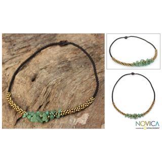 Handmade Quartz 'Green Orchids' Beaded Necklace (Thailand)