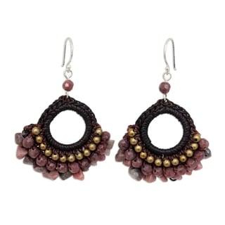 "Link to Handmade Rose Lanna Rhodonite Dangle Earrings (Thailand) - 1.6"" x 2.2"" Similar Items in Earrings"