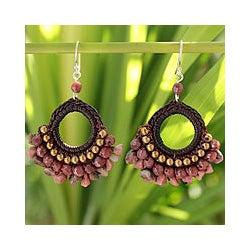 Rhodonite 'Rose Lanna' Chandelier Earrings (Thailand)