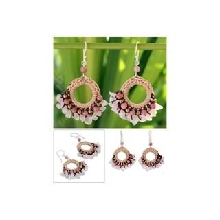 "Handmade Pink Lanna Rose Quartz and chalcedony dangle Earrings (Thailand) - 1.4"" x 2.2"""