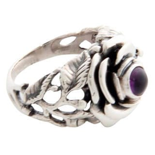 Handmade Sterling Silver 'Rose of Peace' Amethyst Ring (Indonesia)