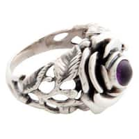 Handmade Sterling Silver 'Rose of Peace' Amethyst Ring (Indonesia) - Purple