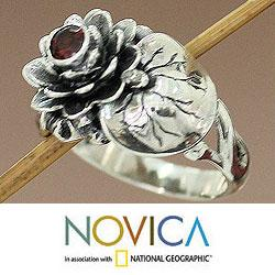 Handmade Sterling Silver 'Lotus Purity' Garnet Ring (Indonesia) - Thumbnail 1