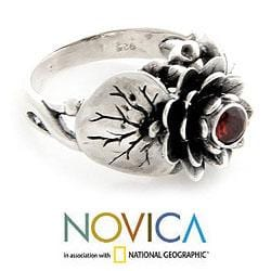 Handmade Sterling Silver 'Lotus Purity' Garnet Ring (Indonesia) - Thumbnail 2