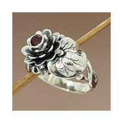 Handmade Sterling Silver 'Lotus Purity' Garnet Ring (Indonesia)