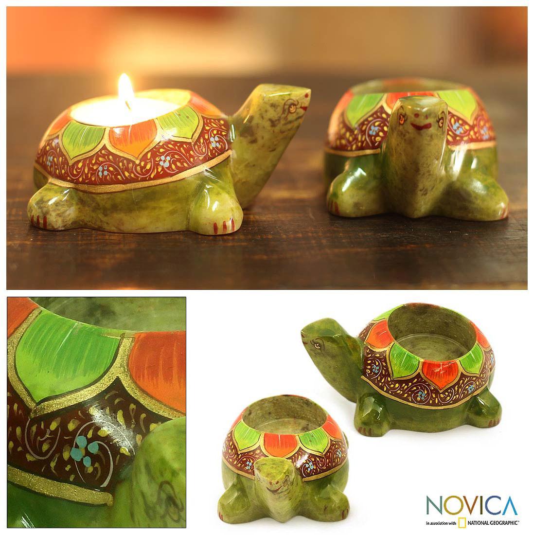 Handmade Set of 2 Soapstone 'Green Lotus Turtle' Candleholders (India)