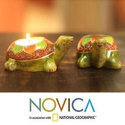 Set of 2 Soapstone 'Green Lotus Turtle' Candleholders (India)