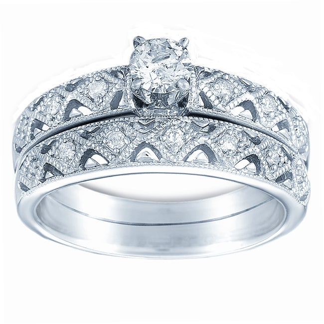 10k White Gold 1/2ct TDW Diamond Wedding Ring Set (H-I, I1-I2)