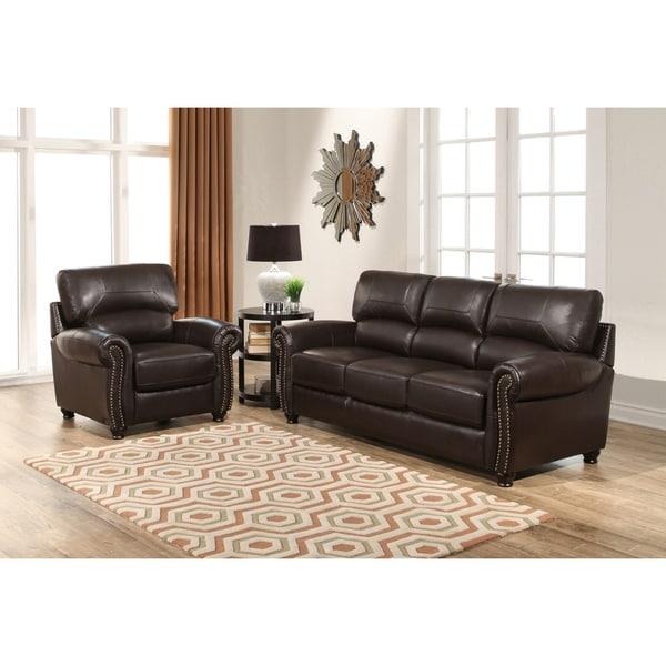 Shop Abbyson Monaco Premium Top-grain Leather Sofa And