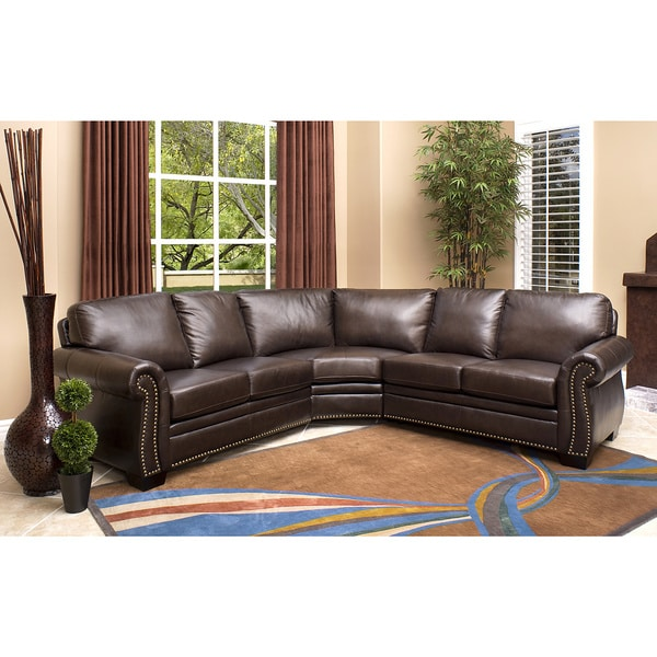 Abbyson Oxford Brown Leather Sectional Sofa