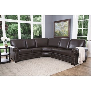 Good Abbyson Oxford Brown Top Grain Leather Sectional Sofa   Free Shipping Today    Overstock.com   14070177