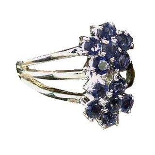 Handmade Sterling Silver 'Dazzling Daisies' Iolite Cluster Ring (India) (3 options available)