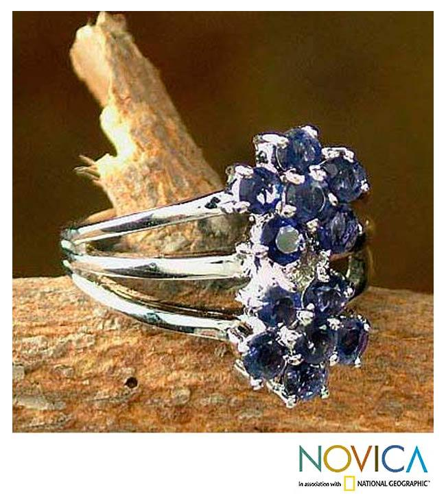 Handmade Sterling Silver 'Dazzling Daisies' Iolite Cluster Ring (India)