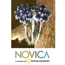 Handmade Sterling Silver 'Dazzling Daisies' Iolite Cluster Ring (India) - Thumbnail 2
