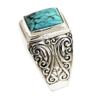 Handmade Sterling Silver Men's 'Sky Crown' Recon Turquoise Ring (Indonesia)