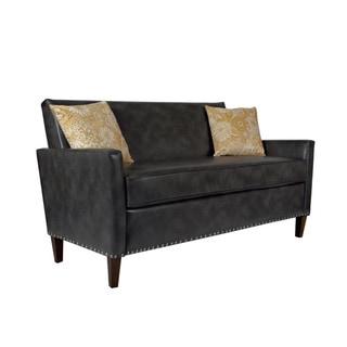 Handy Living Sutton Charcoal Grey Renu Leather Sofa