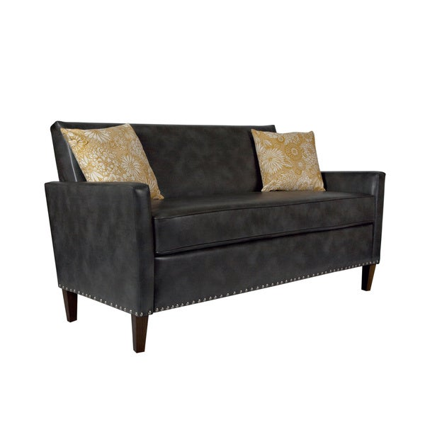 Handy Living Sutton Charcoal Grey Renu Leather Sofa