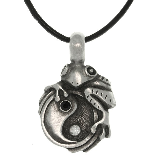 Carolina Glamour Collection Pewter Unisex Frog on Yin Yang Necklace