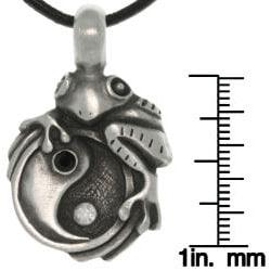 Carolina Glamour Collection Pewter Unisex Frog on Yin Yang Necklace - Thumbnail 2