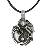 Carolina Glamour Collection Pewter Unisex Frog on Yin Yang Necklace