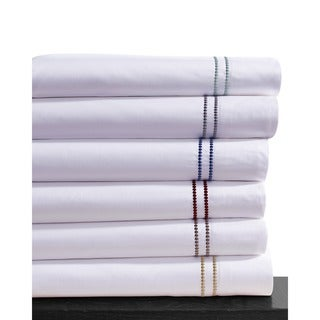 Dot Embroidered Cotton Sateen 400 Thread Count Extra Deep Pocket Sheet Set with Oversize Flat