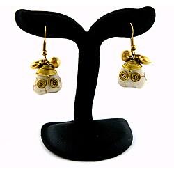 Goldtone WhiteTurqouise Heart Earrings (Thailand)