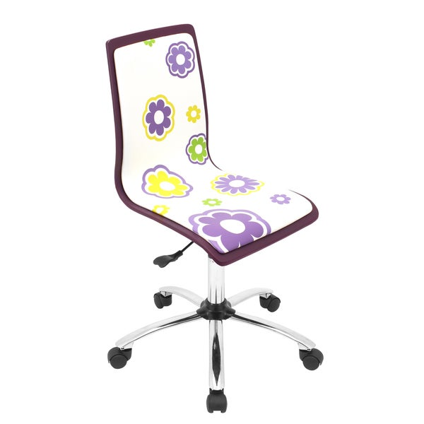 Printed Daisy Purple Computer Chair
