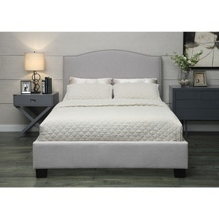 Venice-X Queen-size Grey Fabric Bed with Euro Slats