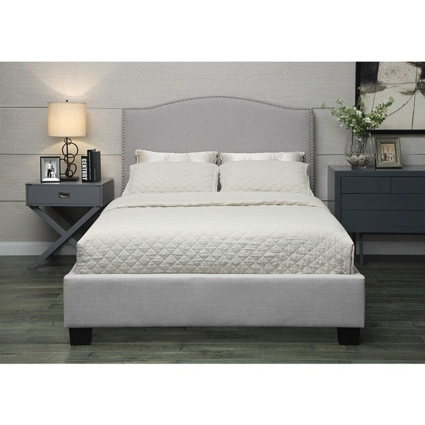 Venice-X Queen-size Grey Fabric Bed with Euro Slats. Opens flyout.