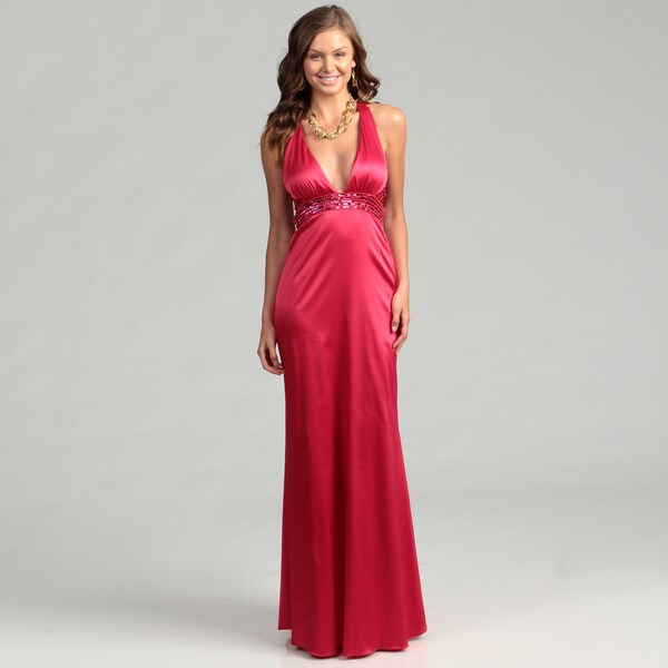 Jessica Simpson Women's Barberry V-neck Gown