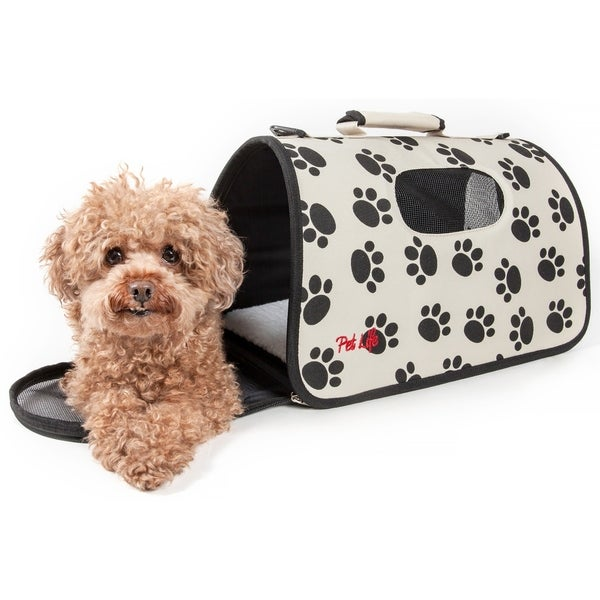 Pet Life Airline Approved Zippered Folding 'Cage' Carrier, Color: Paw Print Design, Size: Medium. Opens flyout.