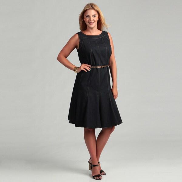 13b154b990 Shop Sandra Darren Women s Plus Size Denim Dress FINAL SALE - Free ...