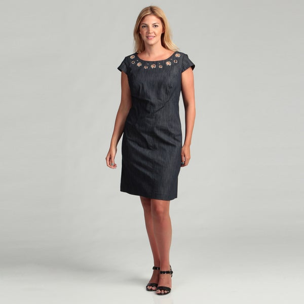 7c899e5b45 Shop Sandra Darren Women s Plus Size Denim Grommet Dress FINAL SALE ...