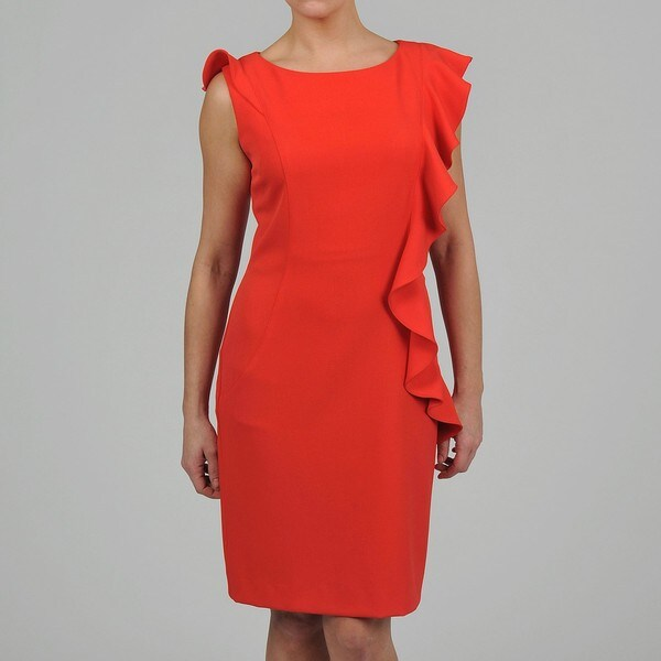 S.L. Fashions Women's Pink Cascading Ruffle Front Dress