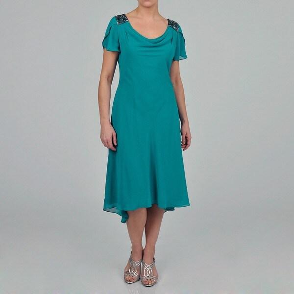S.L. Fashions Women's Beaded Shoulder Chiffon Dress
