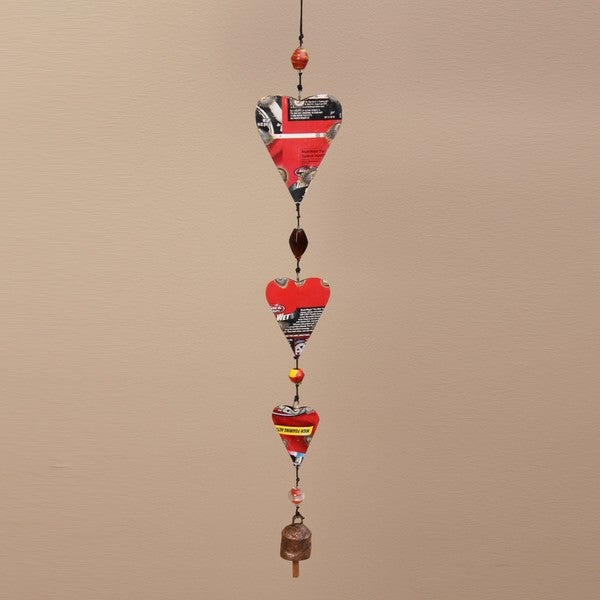 Recycled Tin and Glass Heart Hanging Art (India)
