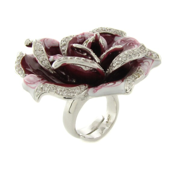 Dolce Giavonna Silver Overlay Pink Enamel and Cubic Zirconia Flower Ring