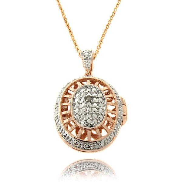 Finesque Rose Gold Overlay Diamond Accent Oval Filigree Locket